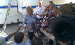Gov. Mary Fallin addressing the media concerning the Eastern OK Co. Fires